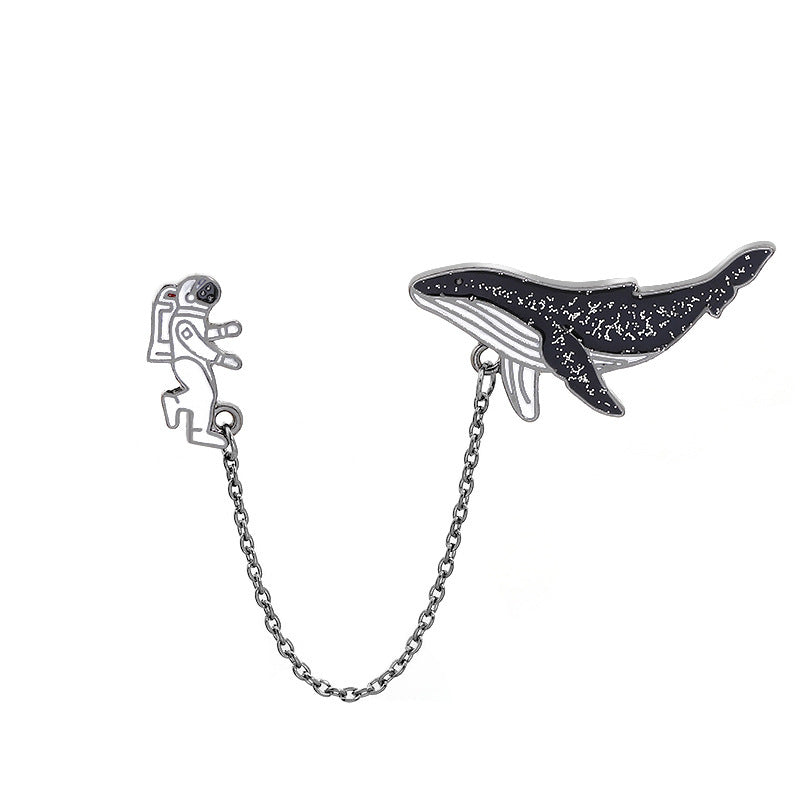 """ASTRONAUT SPACE WHALE"" BROOCH D073005"