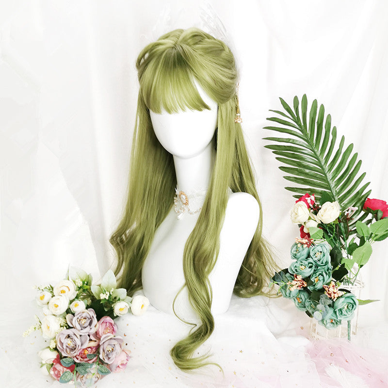 """FRUIT GREEN AIR BANGS BIG WAVY LONG CURLY"" WIG D051511"