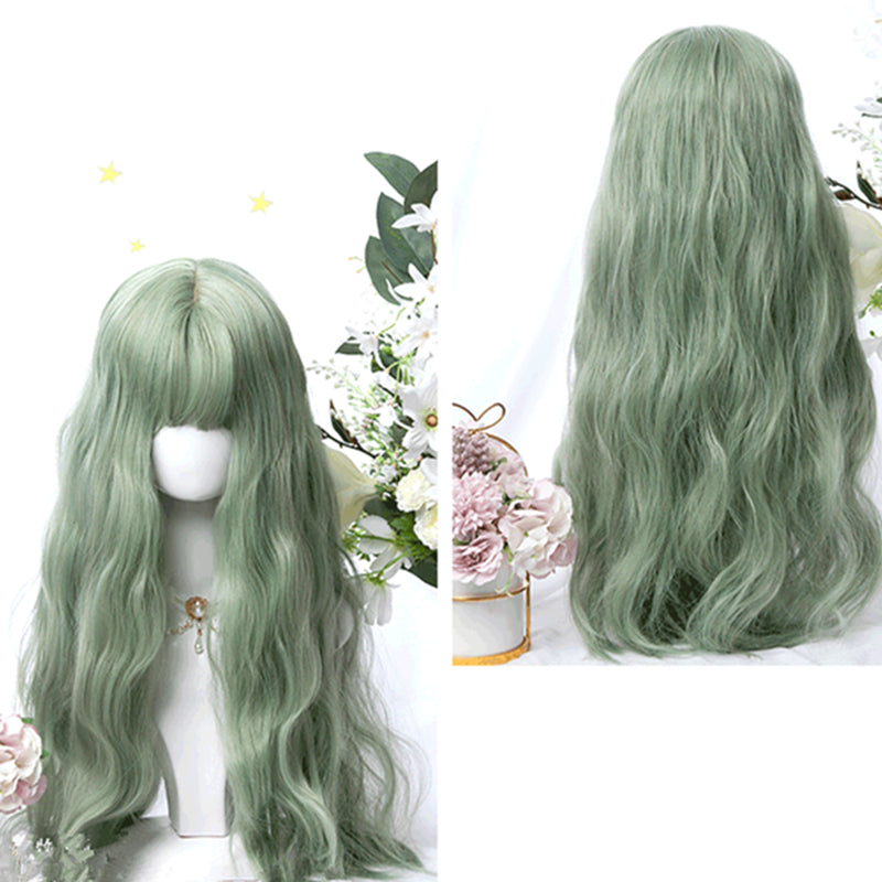 """MINT GREEN BANGS LONG CURLY"" WIG D051513"
