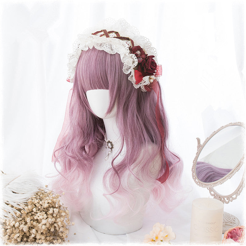 """PURPLE GRADIENT PINK BANGS LONG CURLY"" WIG D071415"