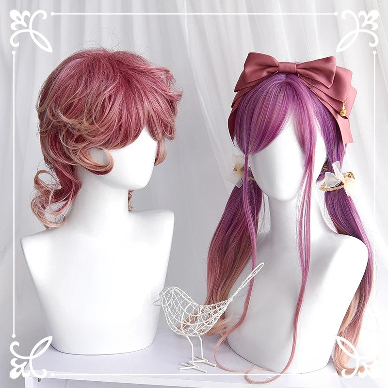"""PURPLE PINK GRADIENT MICRO CURL LONG/SHORT"" WIG D042010"