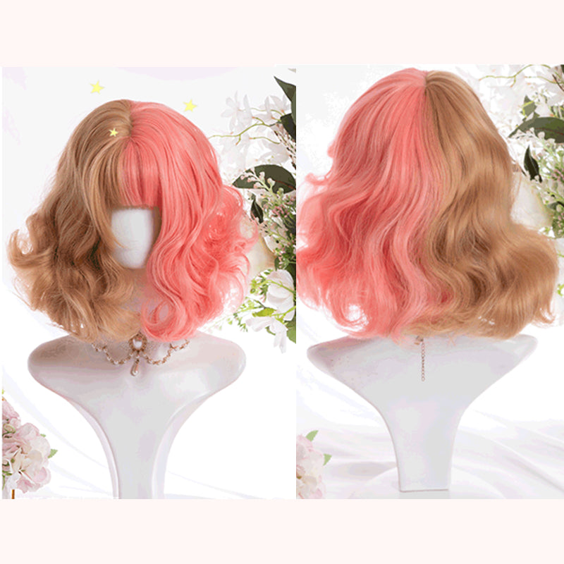 """HALF PINK HALF GOLDEN CUTE SHORT"" WIG D071703"