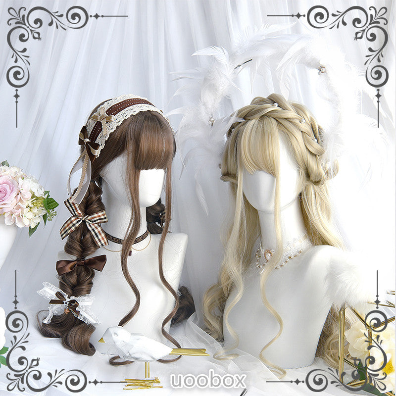 """BROWN/BEIGE CURLY LONG"" WIG D042009"