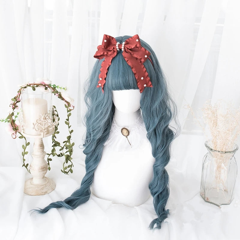 """PEACOCK BLUE WAVY CURLY LONG"" WIG D041706"