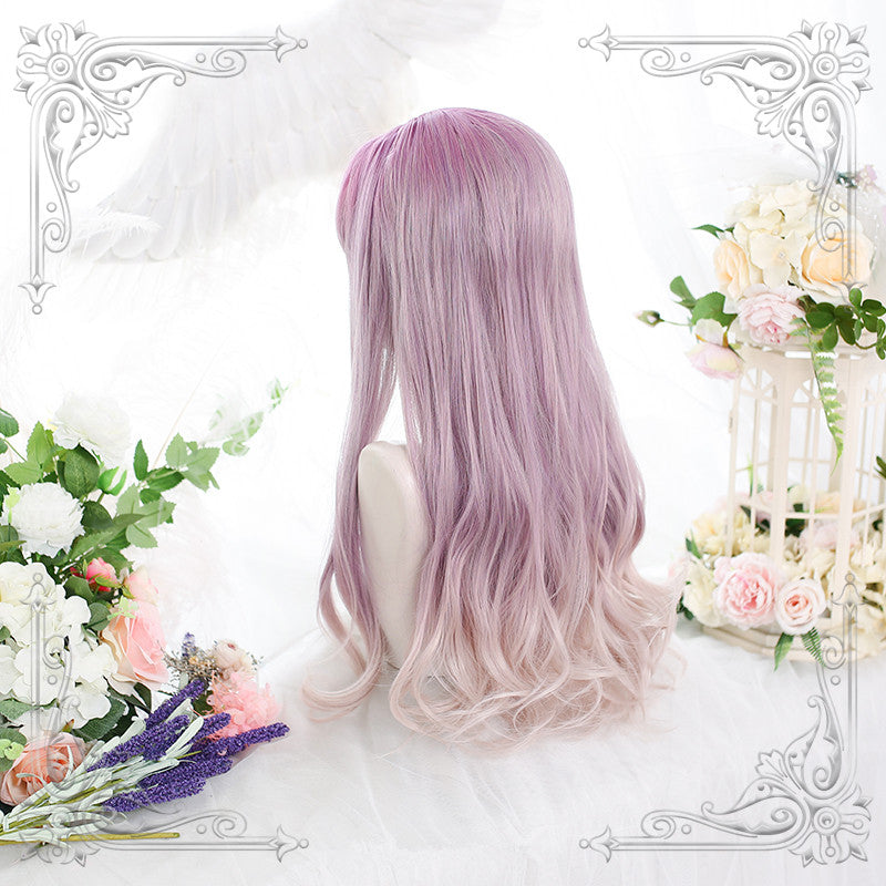 """PURPLE GRADIENT BEIGE LONG CURLY"" WIG D071408"