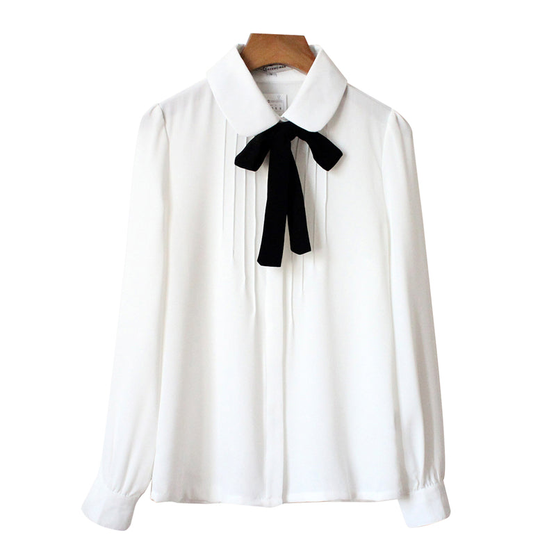 """WHITE SWEET BOW CHIFFON"" SHIRT D072002"