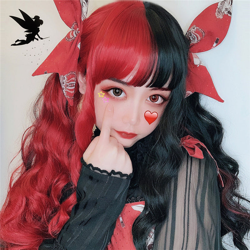 """HALF RED HALF BLACK LONG CURLY"" WIG D072104"