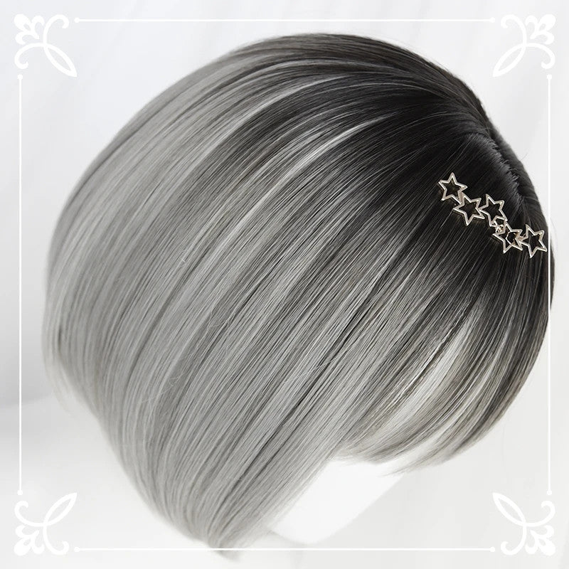 """BLACK GRADIENT SILVER SHORT STRAIGHT"" WIG D042015"