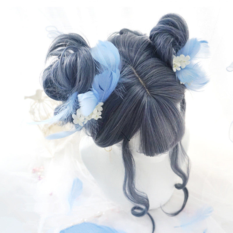 """BLUE GRAY BIG WAVY LONG CURLY"" WIG D051523"