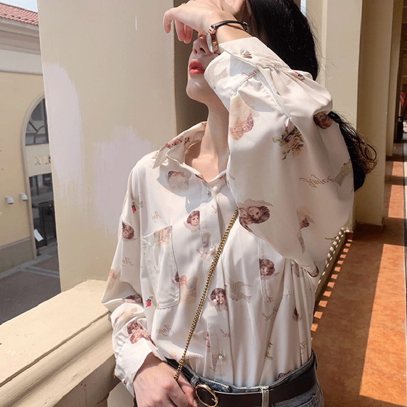 """ANGEL PRINT CHIFFON LONG SLEEVE"" SHIRT D042702"