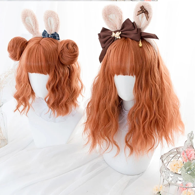 """ORANGE LONG / SHORT CURLY"" WIG D041623"