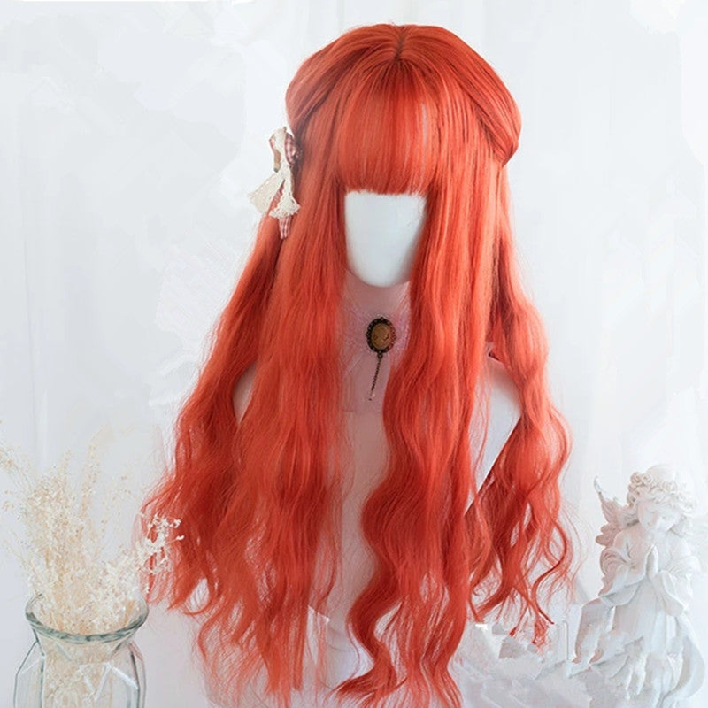 """ORANGE-RED LOLITA LONG CURLY"" WIG D041619"