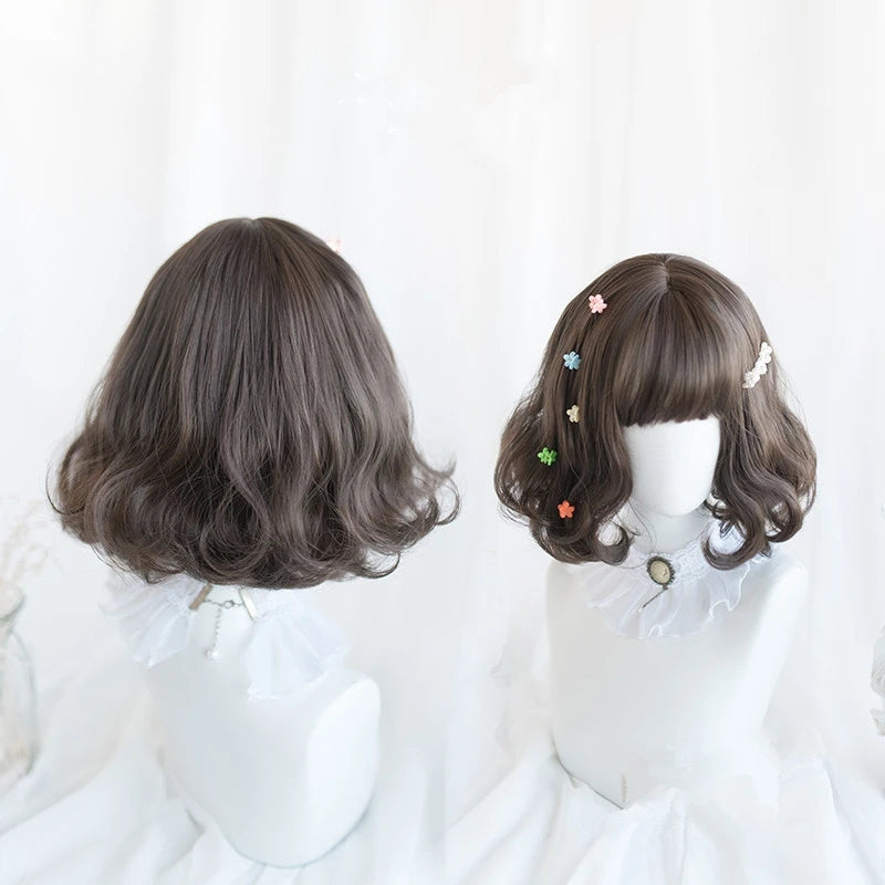 """BLACK/BROWN LOLITA SHORT CURLY"" WIG D041707"