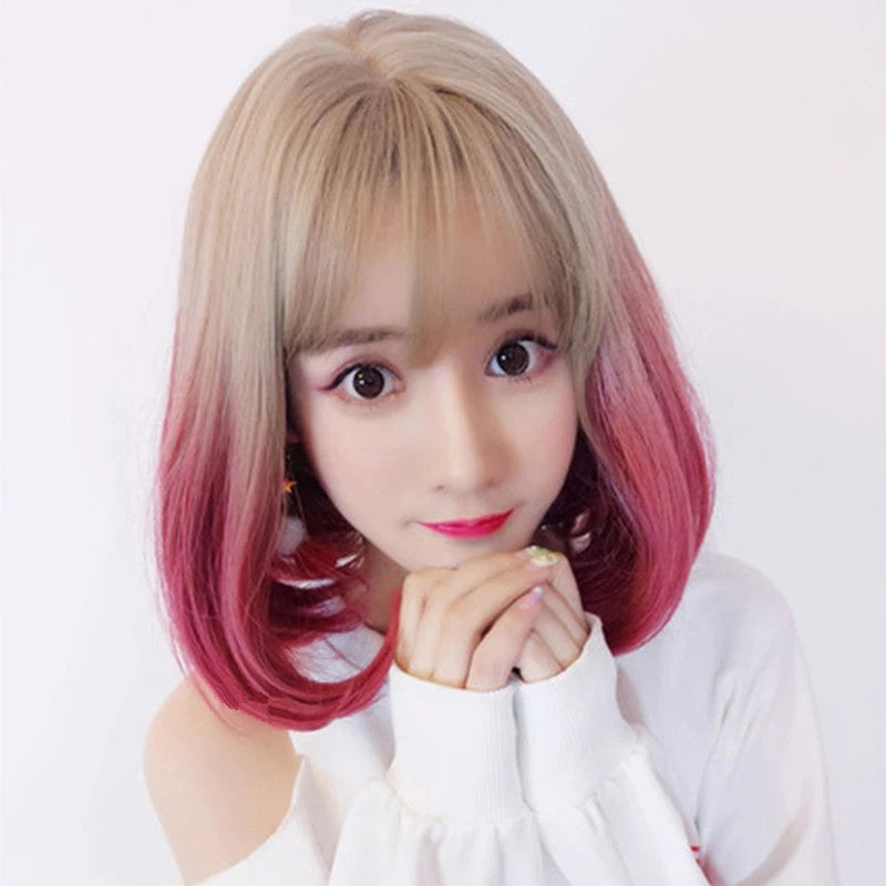 """APRICOT GRADIENT PINK BOBO SHORT"" WIG D041804"