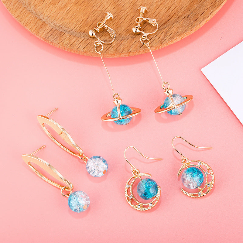 """BLUE GLASS BALL PLANET"" EARRINGS D042210"