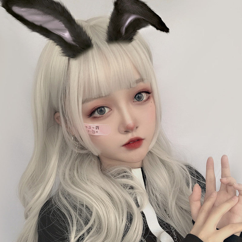 """WHITE LOLITA SLIGHTLY CURLY"" LONG WIG D050412"