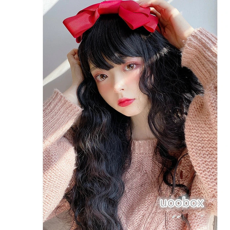 """BLACK LONG CURLY"" WIG D041712"