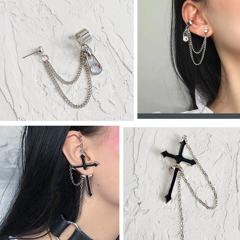 """CROSS & CHAIN"" EARRINGS D042213"