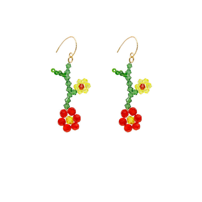 """CRYSTAL COLORFUL FLOWER"" EARRINGS D042212"
