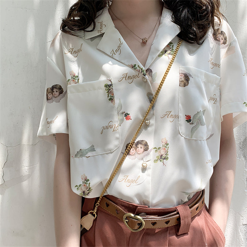 """ANGEL CHIFFON SHORT SLEEVE"" SHIRT D042701"