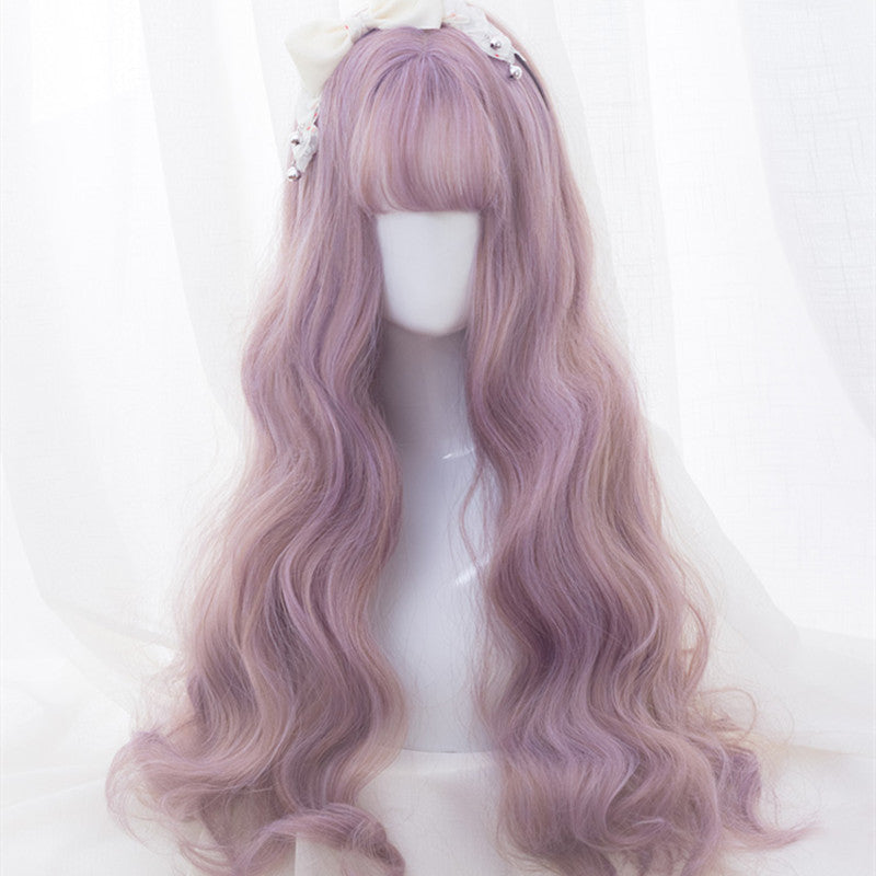 """PURPLE DYED PINK LONG CURLY"" WIG D050506"