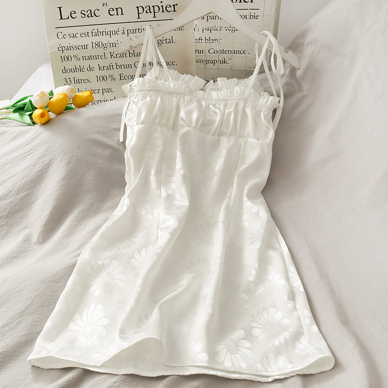 """WHITE FLOWER"" SUSPENDER DRESS D072907"