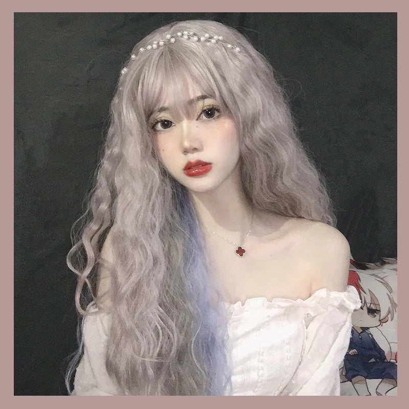 """PINK/GRAY/BLUE MIXED DYED CURLY"" LONG WIG D042011"