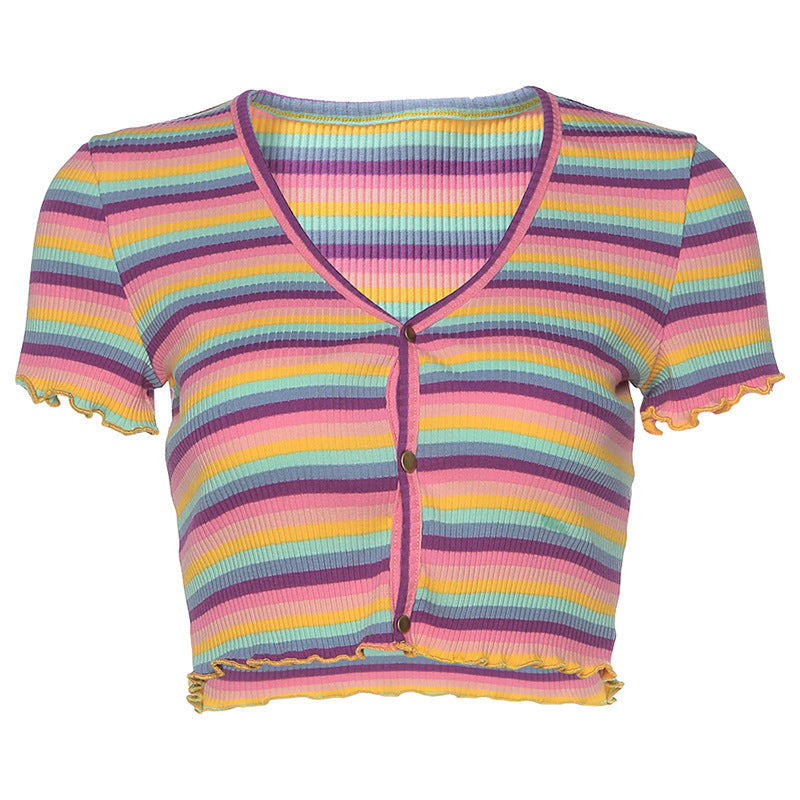 """COLORED STRIPE"" CROP TOP D070841"