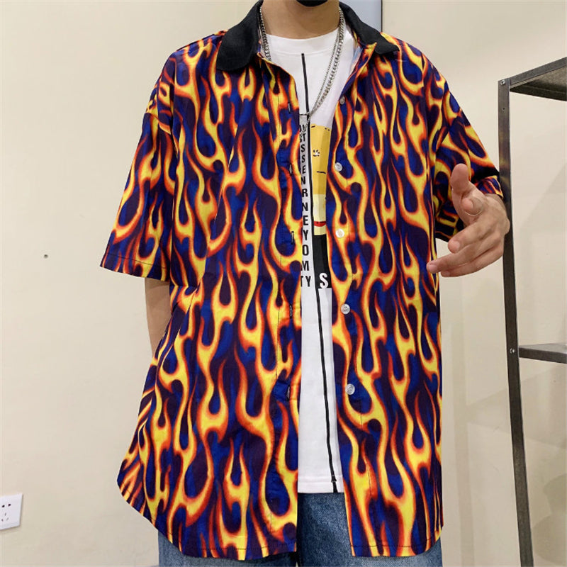 """UNISEX FLAME PRINT SHORT SLEEVE"" SHIRT D051507"