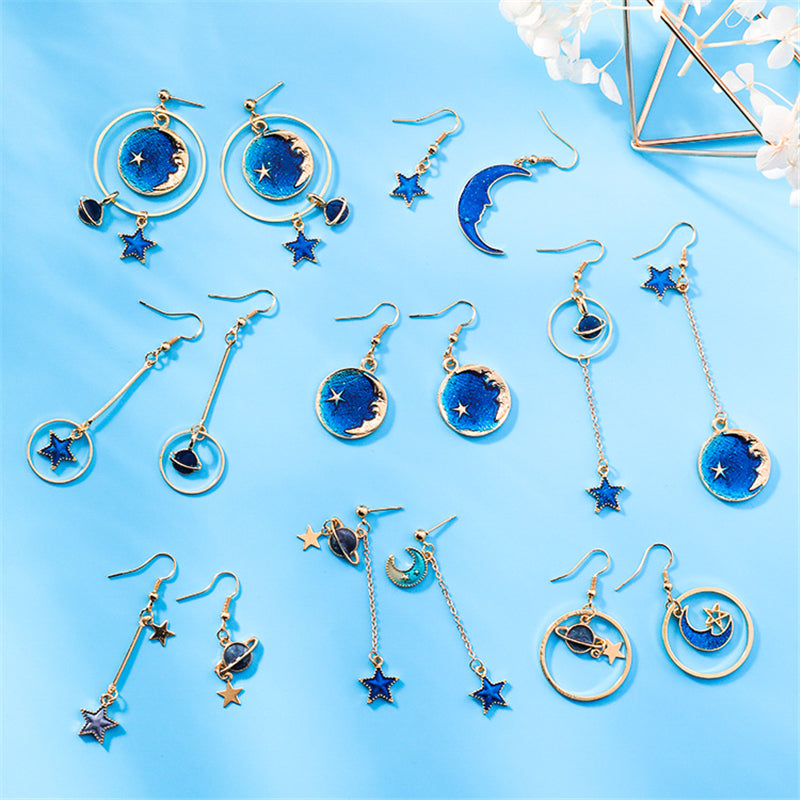 """BLUE STAR MOON PLANET"" EARRINGS D042207"