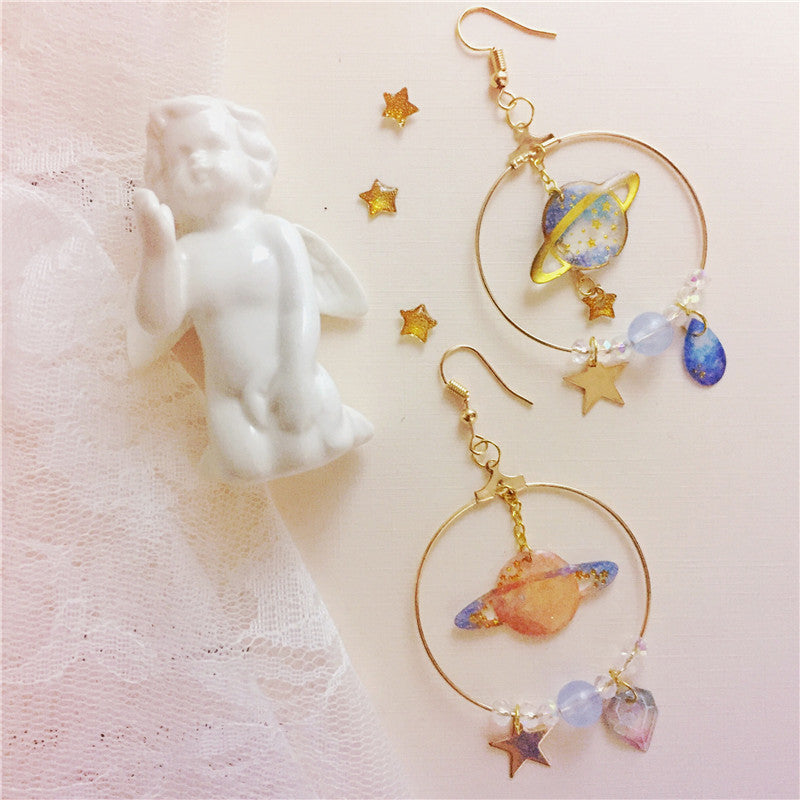 """CUTE SWEET COSMIC PENDANT"" EARRINGS D042201"