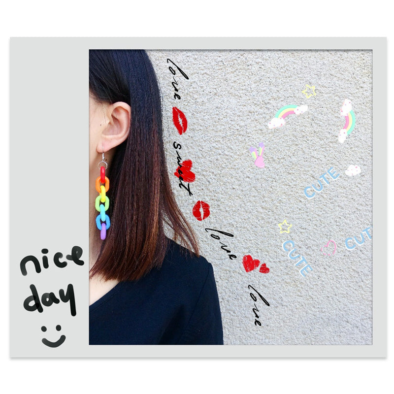 """RAINBOW CHAIN"" EARRINGS D042308"