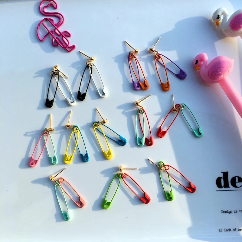 """CANDY-COLORED SAFETY PIN"" EARRINGS D042305"