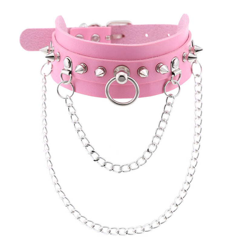 """PUNK RIVET RING CHAIN"" CHOKER D070814"