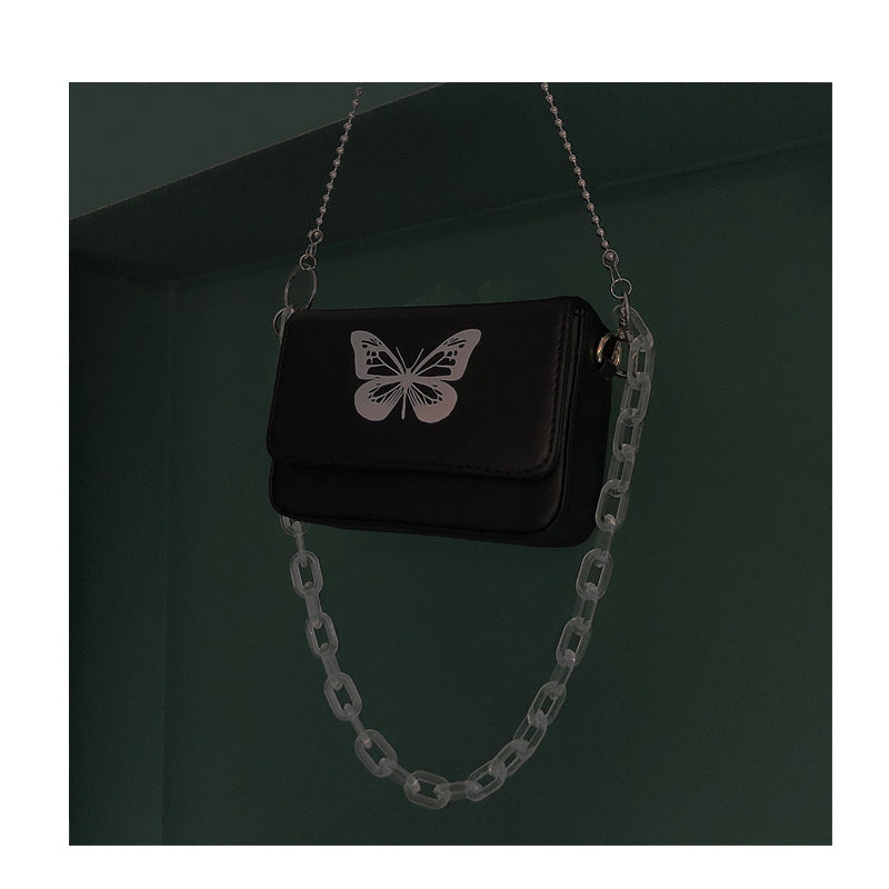 """REFLECTIVE BUTTERFLY"" TRANSPARENT CHAIN SQUARE BAG D050802"