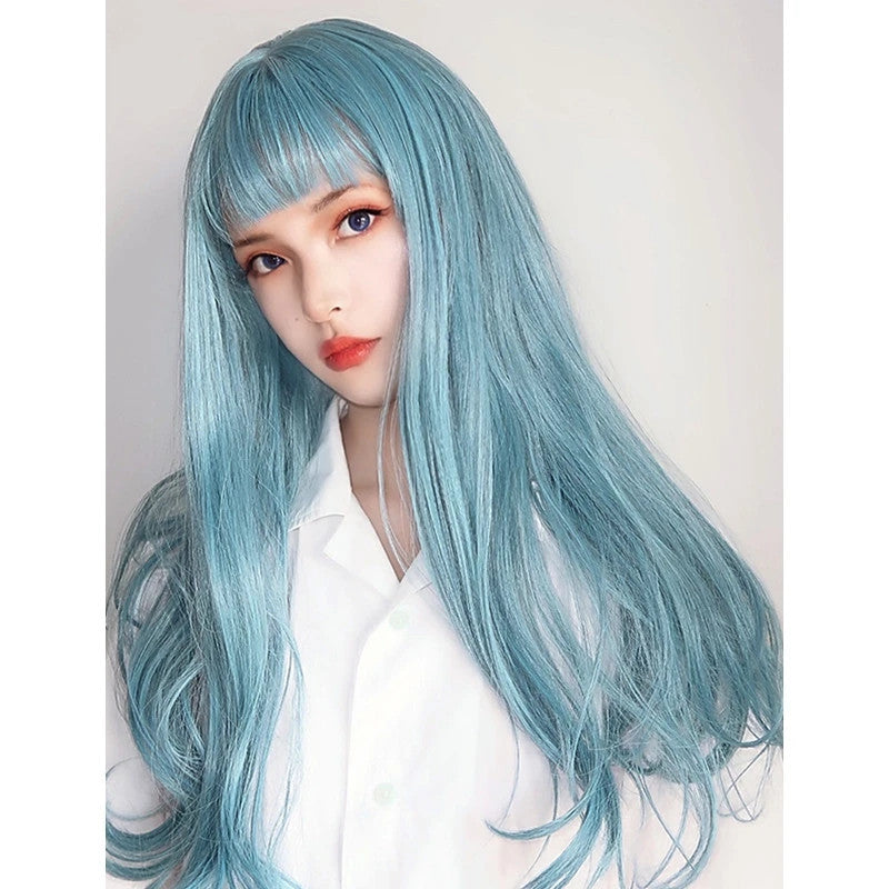 """BLUE/GOLD/ORANGE MICRO CURLY LONG"" WIG D041812"