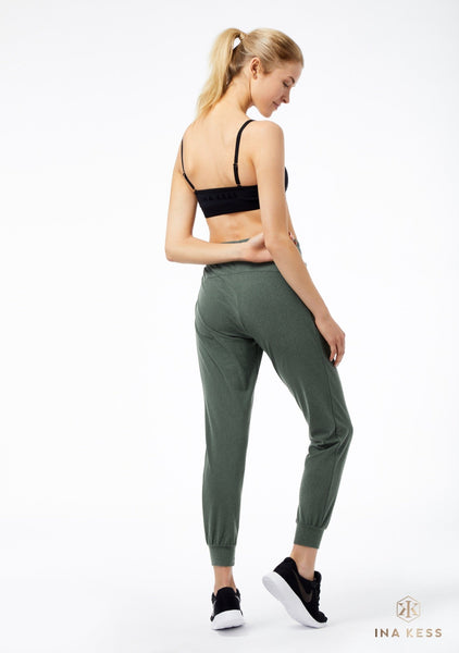 LUXE PLUSH TRACK PANTS VETIVER GREEN