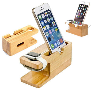 Descanso Carregador de Madeira Bambu para Iphone e Apple Watch