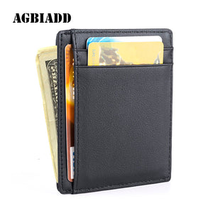 AGBIADD Front Pocket Wallet Minimalist Wallets Genuine Leather Slim - yubti.com