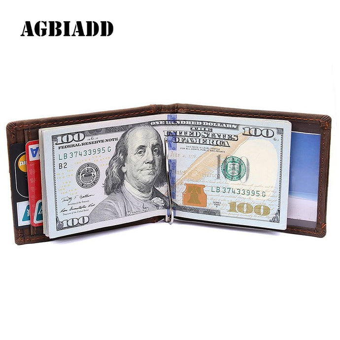 AGBIADD RFID Blocking Bifold Slim Genuine Leather - yubti.com