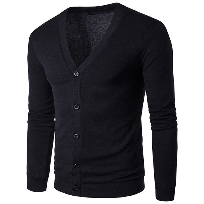 Men Autumn Winter Button V Neck Long Sleeve Knit Sweater Cardigan Coat - yubti.com