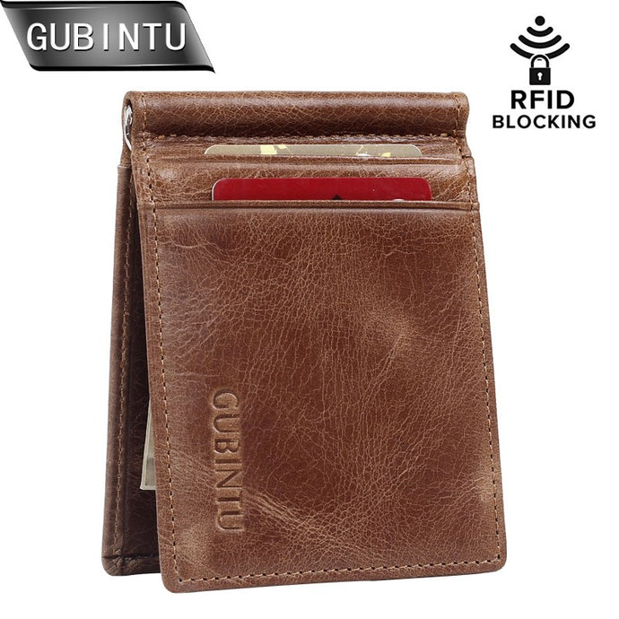 GUBINTU RFID Blocking Bifold Slim Vintage Genuine Leather - yubti.com