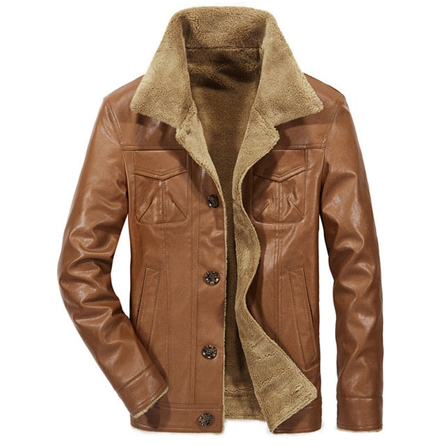 Mountainskin 2018 New Men's Leather Jacket PU Coats Mens Brand Clothing Thermal Outerwear Winter Fur Male Fleece Jackets SA533 - yubti.com