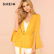 Load image into Gallery viewer, SHEIN Yellow Split Sleeve Belted Outerwear Office Ladies Long Sleeve Plain Wrap Workwear Blazer Women Autumn Elegant Coat - yubti.com