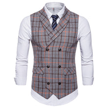 Load image into Gallery viewer, Men Plaid Button Casual Printed Sleeveless Jacket Coat British Suit Vest Blouse - yubti.com