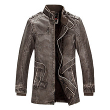 Load image into Gallery viewer, Mountainskin Winter Men's PU Jacket Motorcycle Coats Thick Fleece Warm Outerwear Slim Fit Male Leather Coat Brand Clothing SA557 - yubti.com
