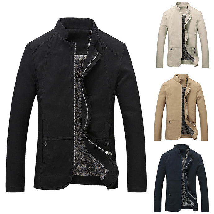 Men's Autumn Winter Casual Long Sleeve Solid Stand Zipper Jacket Top Blouse - yubti.com