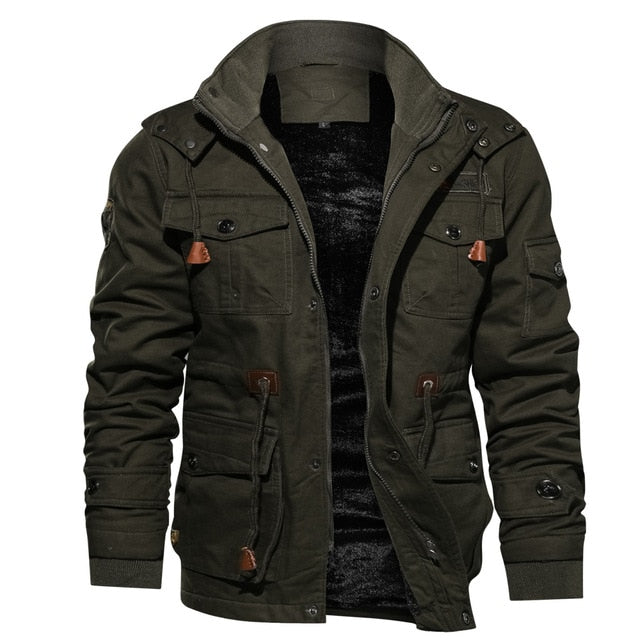 Mens Parka Jacket Winter Fleece Multi-pocket Casual Quilted Jacket - yubti.com
