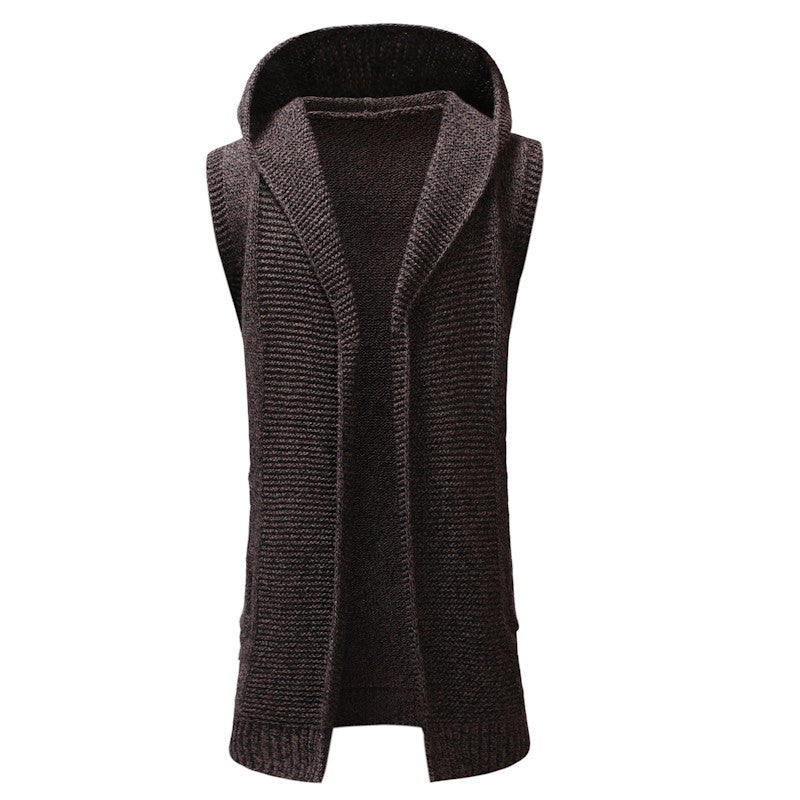 Men Cardigan Fashion Long Sweater Sleeveless Hooded Knitted Coat - yubti.com