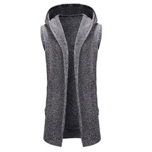 Load image into Gallery viewer, Men Cardigan Fashion Long Sweater Sleeveless Hooded Knitted Coat - yubti.com